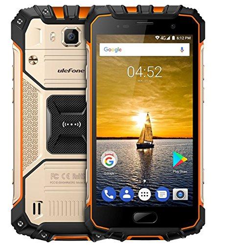 Ulefone Armor 2-5.0 Pulgadas FHD IP68 Impermeabilice 4G Android 7.0 Smartphone, Helio P25 Octa Núcleo 2.6GHz 6GB RAM 64GB ROM, cámara de 13MP + 16MP NFC GPS 4700mAh batería Carga RÁPIDA - Oro