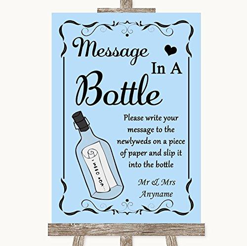 Blauwe bruiloft teken collectie blauwe boodschap in een fles bruiloft teken Framed Oak Small