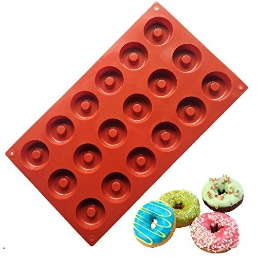 Allforhome Moule en silicone 18 cavités Idéal pour confectionner des muffins/biscuits/chocolats/glaçons/savons Motif donuts