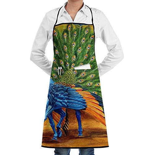 Delantal de chef con diseño de pavo real Pegasus Melissa A Benson para mujeres y hombres, divertido delantal de barbacoa, delantal ajustable con bolsillos