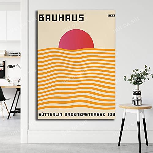 vbiubiuregre Póster de la Bauhaus Ausstellung Impresión Digital Minimalista Arte imprimible decoración de Dormitorio modernista-40x60 cm_ Enmarcado