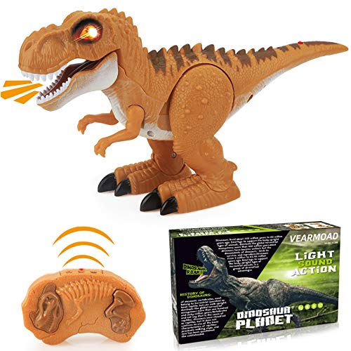 VEARMOAD T-Rex Dinosaur Toy, Remote Control Dinosaur Toy Electronic RC Dino Toys with Realistic Roaring & Glowing Eyes & Walking Movement for 3-12 Years Old Toddlers Boys Girls (Orange)