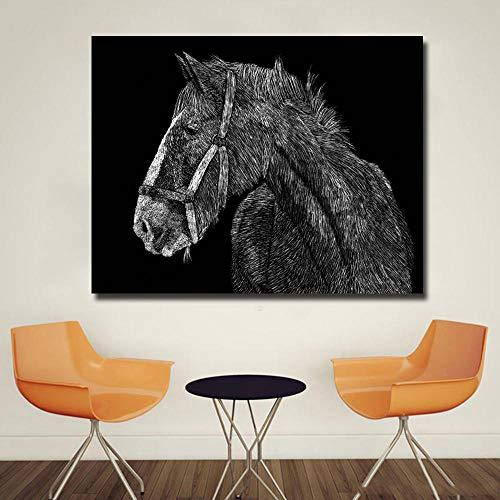 SYFDW canvasdruk abstract slaapkamer eenvoudig trekker zwart en wit afbeelding dier kunst voor woonkamer huis wanddecoratie poster gedrukt