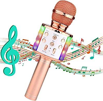 Wireless Karaoke Microphone,4 in 1 Bluetooth Microphone with Flashing Colorful LED Lights,Portable Handheld Karaoke Microphone for Kids Home Party Singing,Compatible with Android & iOS Devices