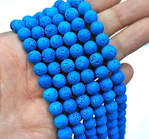 YELVQI Piedra Natural Roca volcánica Azul Perlas de Piedra de la Lava Natural hematita Redonda Perlas Sueltas para la fabricación de Joyas de Bricolaje Collar de Pulsera 15 '' 4 6 8 10mm