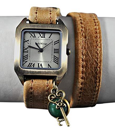 Wickelarmbanduhr mit Edelstein Jade und Schlüssel - Vintage-Style - Quadrat - Bronze - Leder - Geschenkidee - Damen-Armbanduhr - Geschenk für Sie - Schmuck Geschenk - Handmade