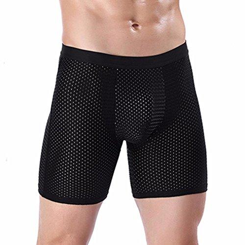 PLOT-Boxershorts Herren,2018 Sommer Basic EIS Seide Mesh Atmungsaktiv Komfort Unterhose Männer Sexy Sport Unterwäsche Herren in Vielen Farben,Größe L-3XL (3XL, Schwarz)