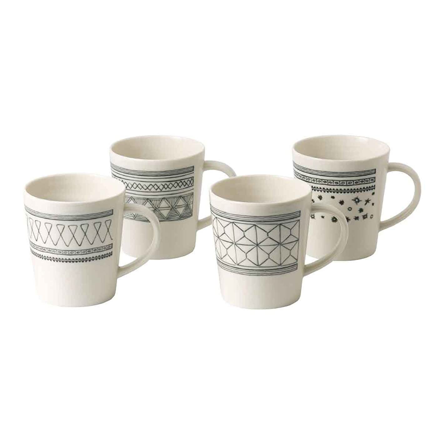 ED Charcoal Mixed Mug Set of 4, Ellen Degeneres Collection by Royal Doulton nciudfbahgg677