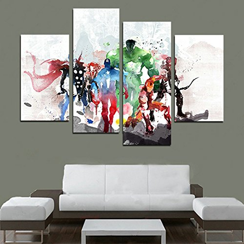 H.COZY 4 piece Le pitture Avengers arte moderna della tela parete Cuadros Decorativos Stampe su tela Pitture di arte per parete del salone (nessuna struttura) senza cornice. FCR20 (48 pollici x28 pollici)