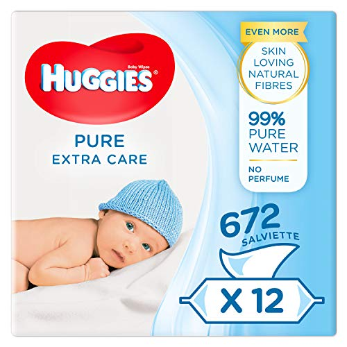 Huggies Pure - Extra Care - Babytücher 1 Box with 4 pacs (3 x 56 wipes per pack)