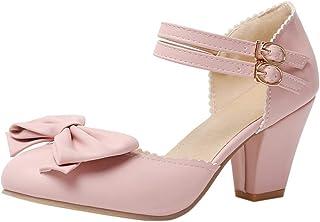 VulusValas Women Sweet Block Heel Sandals Bow