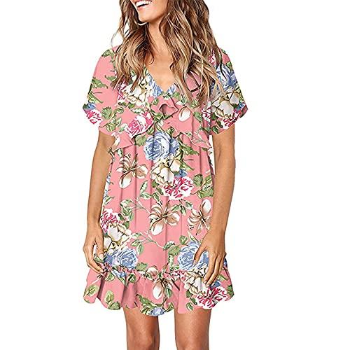 FOTBIMK Vestido holgado con cuello en V y estampado floral plisado, cómodo, de moda, casual, talla S-2XL