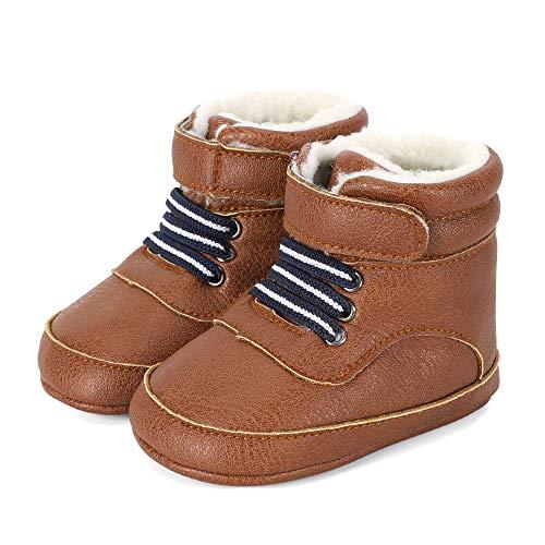 LACOFIA Baby Jongens Winterlaarzen Zuigeling Antislip Eerste Schoentjes Baby Sneeuw Laarzen Bruin 6-12 maanden
