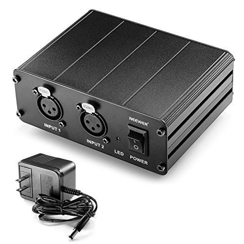 Neewer 2-Channel 48V Phantom Power Supply with Power Adapter for Condenser Microphones, Transfer Sound Signal to External Sound Card