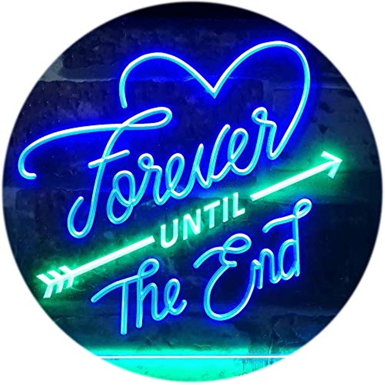 ADVPRO Forever Until The End Room Decoration Dual Farbe LED Barlicht Neonlicht Lichtwerbung Neon Sign Grün & Blau 16  x 12  st6s43-i3123-gb