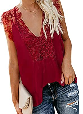 Sidefeel Women Crochet Lace Tank Top Sleeveless Loose Fitting Tunic XL Red