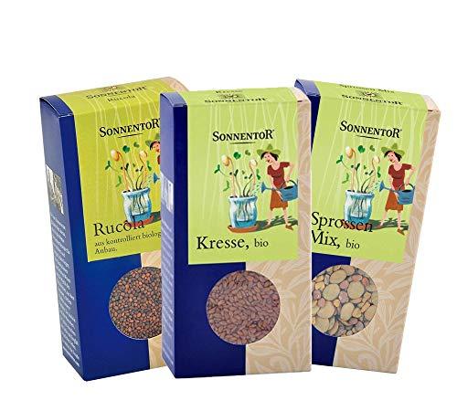 Sonnentor Set: Kresse + Rucola + Sprossen-Mix, Bio-Keimsprossen Set BIO-AT-301