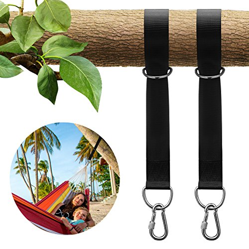 KUYOU Tree Swing Straps Hanging Kit Holds 2200lbs with 2 Pcs D Ring Carabiners, 2 Pack Outdoor Swing Hangers & Hammock Chair Straps Rope Set with Carry Bag for Hammocks Tires Disc Tree Swings