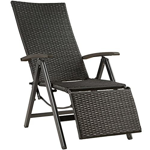 LCSA Aluminium Polyrattan Relaxsessel mit Fußablage Gartenstuhl Klappstuhl Liegestuhl (Color : Schwarz)