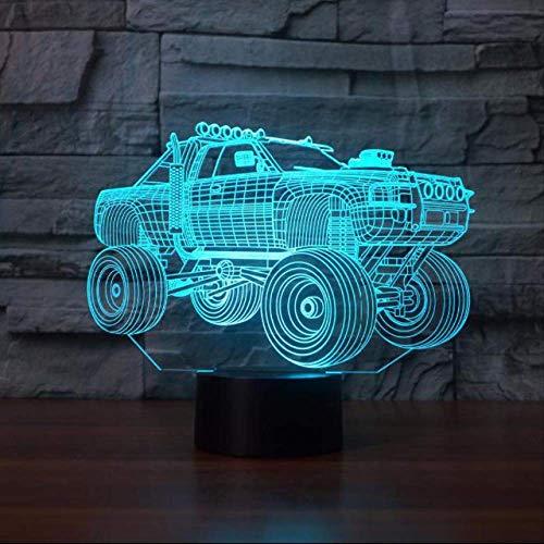 LWJZQT 3D-nachtlampje voor in de auto met afstandsbediening, touchscreen, 7 kleuren, LED, 3D nachtlampje, babyslaap, nieuw licht, led-ledlamp