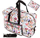 Large Foldable Travel Duffle Bag For Women Girls Cute Floral Weekender Overnight Carry On Checked Luggage Bag Hospital Bag Tote Handbag Shoulder Bag For Kids (painting girl)