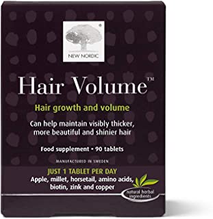New Nordic Hair Volume, 90 Tablets Hair Growth Supplement, Biotin and Naturally Sourced Ingredients, Helps ...