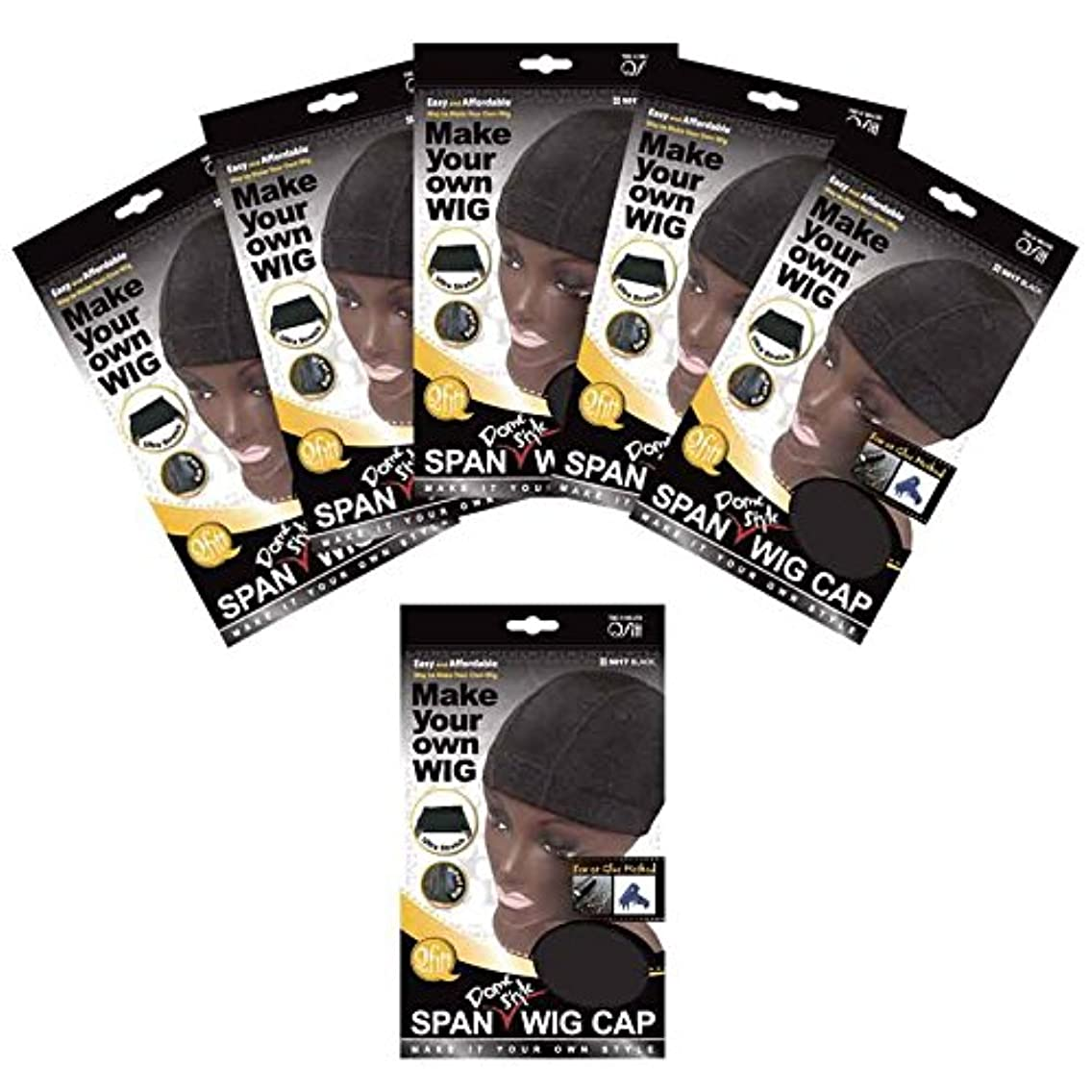 (6 Pack) Qfitt - Spandex Dome Style Ultra Stretch Wig Cap #5017