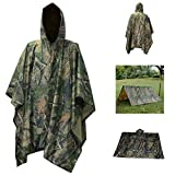 Rain Poncho,Waterproof Raincoat with Hoods Rain Poncho for Outdoor Activities Men,Women, Maple Camouflage, Large