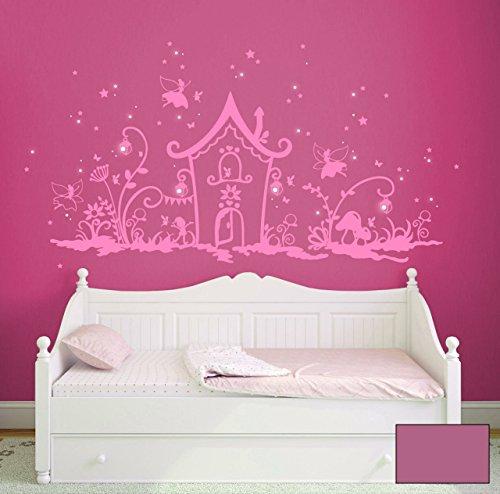 Wandtattoo Wandaufkleber Magisches Elfenland mit Elfen und Feen, Zwergen, Eulen, Leuchtblumen,Laternen und vielem mehr M1239 - ausgewählte Farbe: *Lavendel* Größe:*L_100cmx50cm