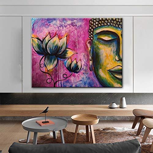 SADHAF Buddha Wandbild Leinwanddruck Leinwandbild Lotus Wandkunst und Buddha Poster Druckbild Wandbild A5 60x90cm