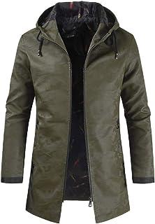 Men's Leather Jacket Medium Long Sleeve Men's Retro Fashion Jacket Transition Jacket Biker Faux Trench Coat Dark Pattern H...