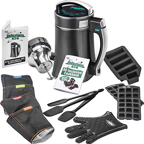 STX Infuzium 420 Butter-Oil-Tincture Infuser Maker Machine Complete Kit • 2 to 8 Sticks Butter • 4 Filters, 3 Spatulas, Silicone Glove, Butter Mold, 2 Gummy Molds Plus our Infuzium 48 Page Cookbook