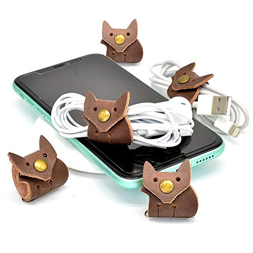 CAILLU cord organizer,cord keeper,USB holder,cable management,cable Straps,earbud case,wrap headphone,headset winder,Phone earphone clips ties,Fox Tiny leather gifts gadget 5