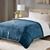 Degrees of Comfort Fuzzy Sherpa Heated Blanket & Heated Plush to Sherpa Throw (Blue, Full)