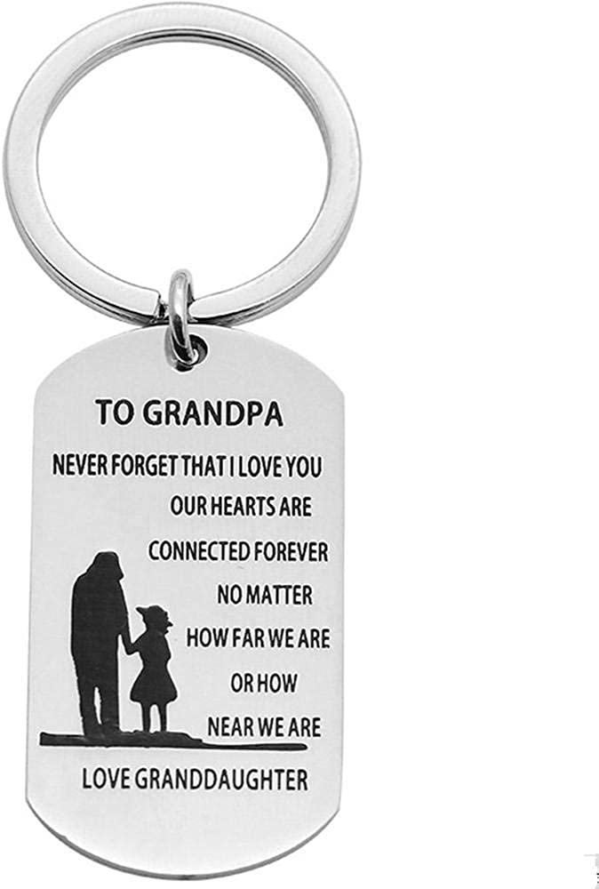 Grandpa Gifts Never Forget That I Love You to Grandpa Dogtags Military Keychain Birthday Christmas Gifts for Grandpa Granfather from Granddaughter