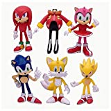 Sonic Hedgehog Action Figures Toys Set of 6 PCS 4 inch Super Sonic Tails Amy Rose Dr. Eggman Knuckles The Echidna Toys Cake Toppers Decorations Collection Playset