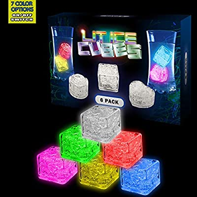 Lit Ice Cubes (6 Pack) Premium LED Light Up Ice Cubes for Drinks With On and Off and Color Switch button