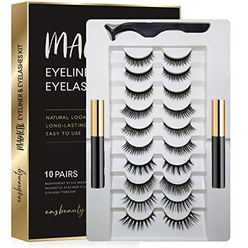 easbeauty Upgraded Magnetic Eyeliner and Eyelashes Kit, 10 Pairs Magnetic Eyelashes with 2 Tubes of Magnetic Eyeliner,Best Magnetic Eyeliner for Magnetic Lashes Kit-Easy to Wear Product Name