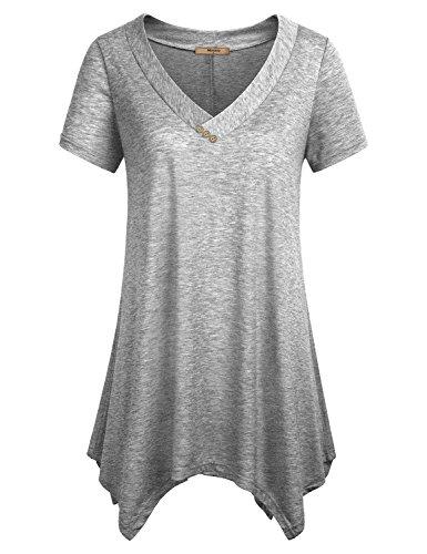 Miusey XL Tunic Tops for Women, Ladies Short Sleeve V Neck Clothes Summer Comfy Flattering Flowy Irregular Hem Soft Loose Fitting Shirts Dressy Breezy Cute Stylish Blouses Gray