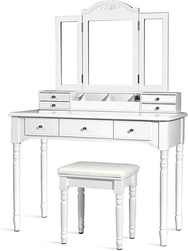 CHARMAID Vanity Set With Tri Folding Mirror 8 Necklace Hooks 7 Drawers 2 Dividers 6 Desktop Makeup Organizers Makeup Dressing Table With Cushioned Stool For Women Girls White