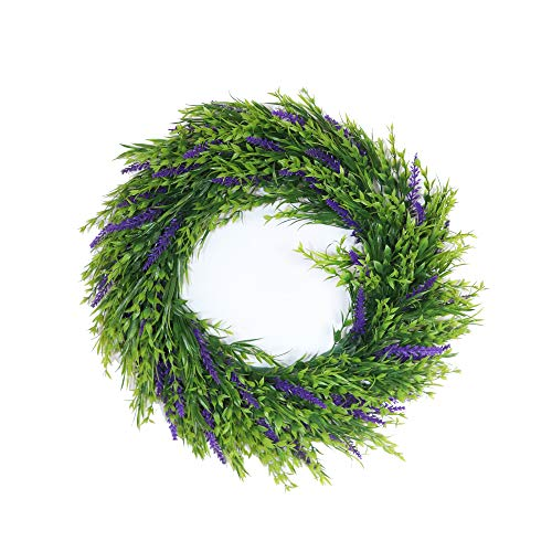 ZIK & NACK ENTERPRISES, Purple Lavender Door Wreath 16.5 Inch - Decorative Wreath - Faux Greenery - Farmhouse Home Decor - Kitchen Wall Accent - Front Door Decoration - Wedding - Genuine Appearance