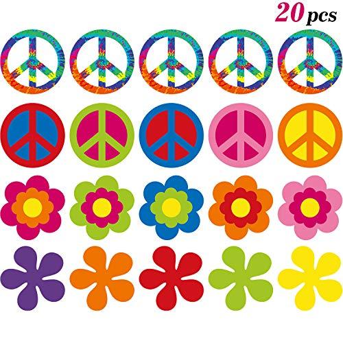 20 Piezas de Recorte de Fiesta Groovy de los Años 60 Recortes Decorativos de Flores Retro Recortes de Signos de Paz con Puntos de Pegamento para Decoraciones de Fiestas Temáticas, 7.9 x 7.9 Pulgadas
