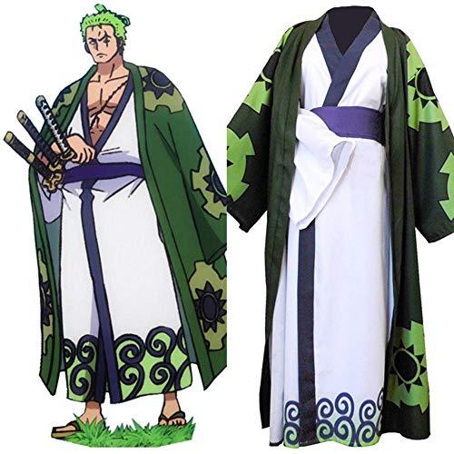 One Piece Roronoa Zoro Cosplay Traje Kimono Robe Traje completo