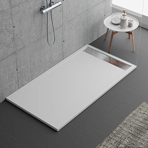 Plato de ducha blanco, diseño moderno, modelo Malaga, de piedra y resina de efecto pizarra, luxury, gelcoat, slim 3 cm, blanco