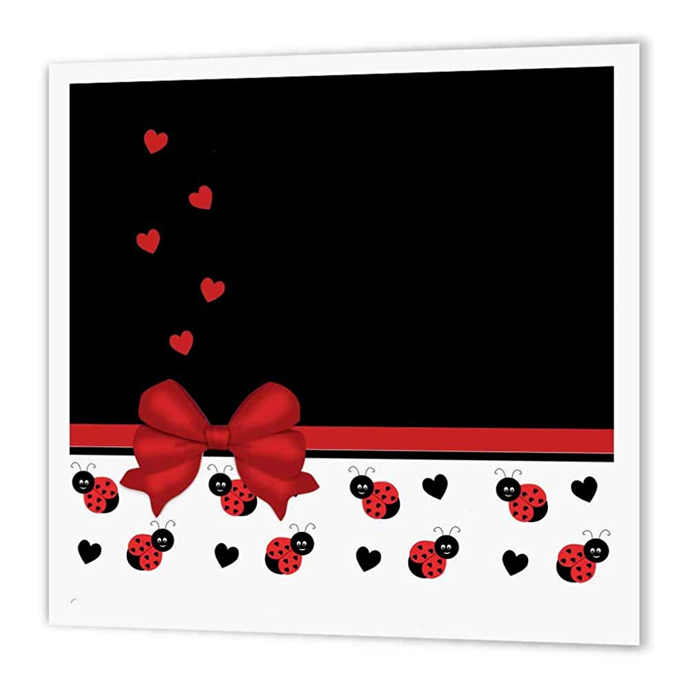 3dRose ht_155266_2 Cute Red Black Ladybugs Floating Hearts Red Ribbon-Iron on Heat Transfer Paper for White Material, 6 by 6-Inch