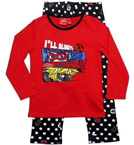 Miraculous Ladybug Schlafanzug Mädchen Cat Noir (Rot-Grau/Schwarz, 110-116)