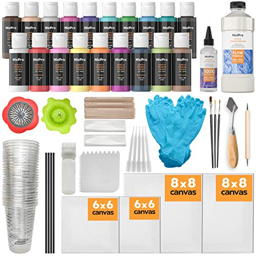 Nicpro Acrylic Pouring Kit, Artist Starter Supplies Including 19 Colors Acrylic Paints,Pouring Medium, Silicone Oil, Canvases, Gloves, Strainers, Brushes, Mixing Stick for Flow DIY Painting