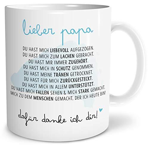 OWLBOOK Danksagung Papa Große Kaffee-Tasse mit Spruch im Geschenkkarton Vatertagsgeschenk Geschenke Geschenkideen für Papa zum Geburtstag Vatertag
