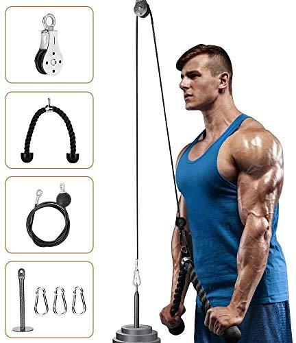 Elikliv Polea sistema de cable para fitness, bricolaje, alfiler de carga, tríceps, cuerda de entrenamiento, longitud ajustable, accesorios para el hogar, gimnasio y deporte, UK27CMZQ0315S, negro