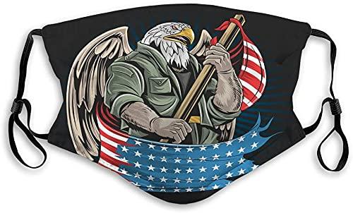 Hirola Escudo bucal transpirable reutilizable al aire libre águila América EE.UU. ejército soldado ilustraciones águila América América ejército soldado ilustraciones